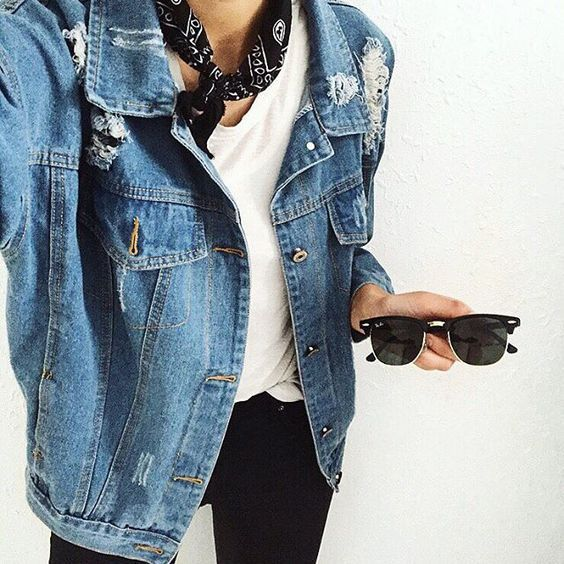 white tee, denim jacket, black leggings, black bandana, and black rayban clubmasters.