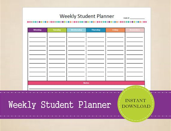 Weekly Student Planner  Homework planner  by MBucherConsulting