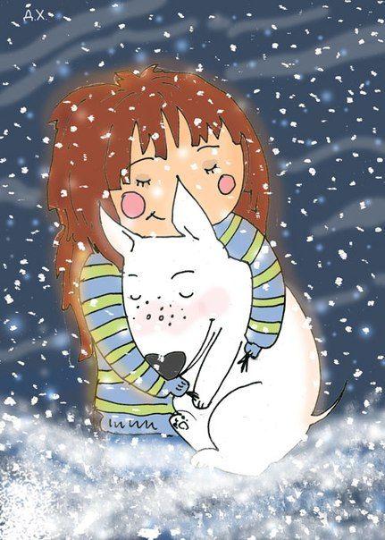 Freckle the Bull Terrier & Martha the girl enjoy snowy weather. Illustration by the Russian artist Daria Khmelevtseva