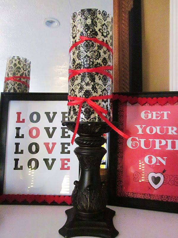 Homespun With Love: Valentine's Day Mantle Candles