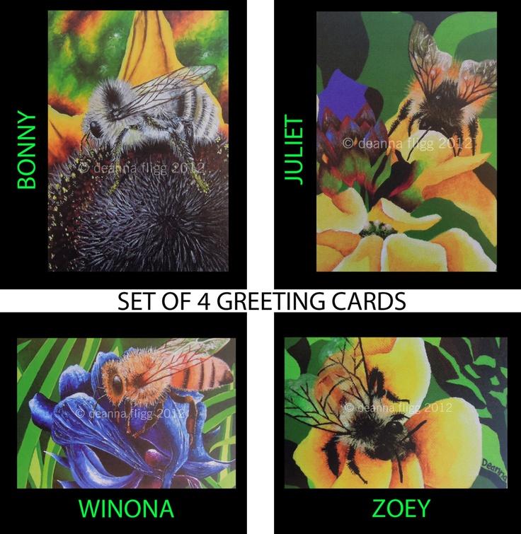 "Set of 4 Greeting Cards - 4"" x 6"" - Blank Inside. $15.00, via Etsy."