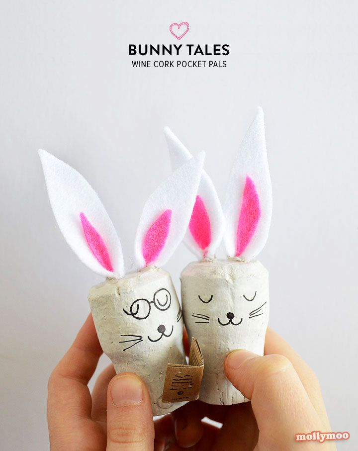 These charming little wine cork bunnies are perfect for little hands and hearts | MollyMooCrafts.com