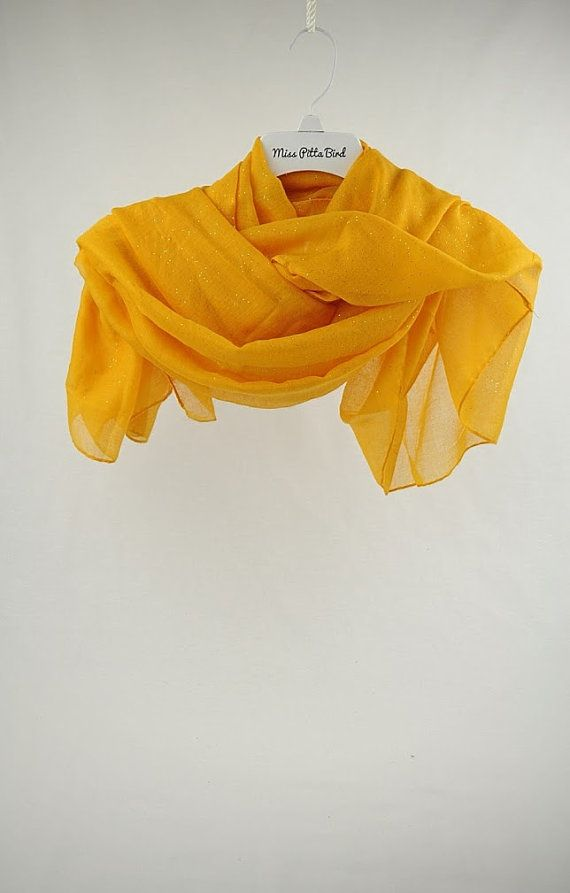 Hey, I found this really awesome Etsy listing at https://www.etsy.com/listing/221859673/yellow-scarf-with-glitter-large-scarf