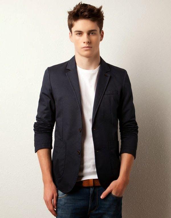 men's fashion- jeans, white tee, navy blazer