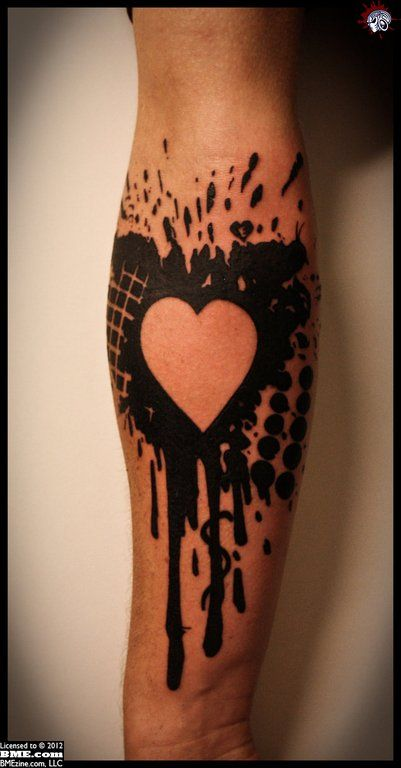 . #Tattoos: Tattoo Ideas, Heart Tattoo Design, Negative Spaces, Colors Tattoo, Spaces Tattoo, Abstract Heart, Tattoo Patterns, Abstract Tattoo, Heart Tattoos