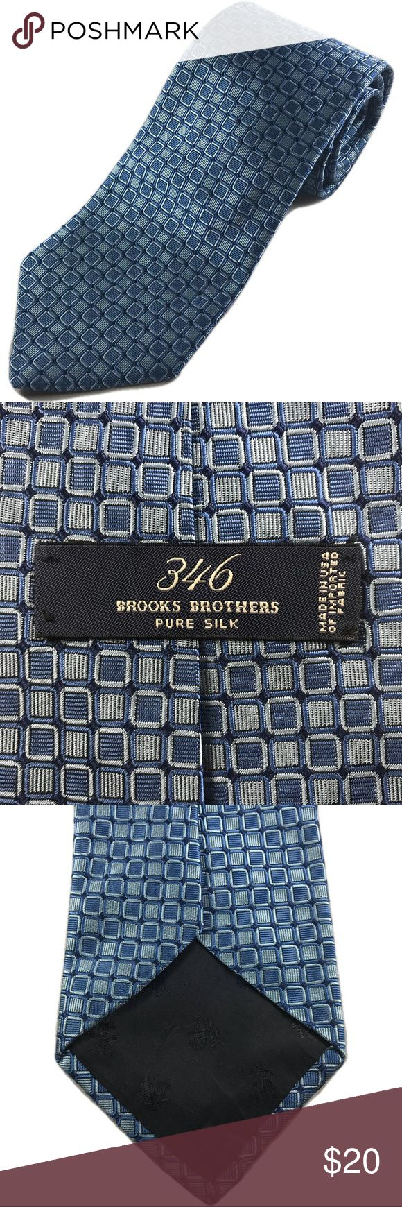 Brooks Brothers Men's 346 Neck Tie Men's Brooks Brothers Necktie made with 100% Silk.  This tie is Blue with a Squares pattern.  Width 3.75"