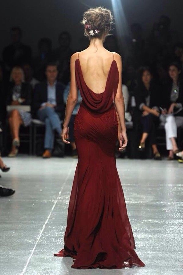 Zac Posen Spring 2014 red spaghetti strap backless gown