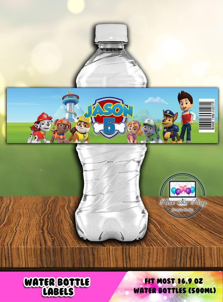 PAW PATROL Water Bottle Labels,Paw Patrol Party Supplies,Printable Bottle Labels,Bottle Label,Digital Download,Printable file,birthday boy di RockThisParty su Etsy