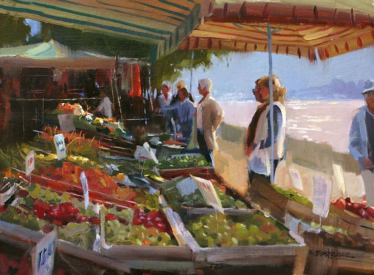 Good Day at the Market  by Kenn Backhaus, Oil Painters of America & American Impressionist Society Master, Signature Member of Plein Air Painters of America, Signature Member of the California Art Club 12 x 16 oil