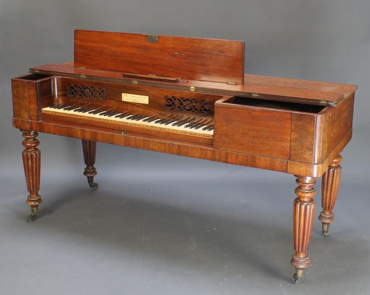 "Lot 1013, Broadwood, a 19th Century square piano raised on turned and reeded supports 33""h x 69""w x 28""d est £80-120"