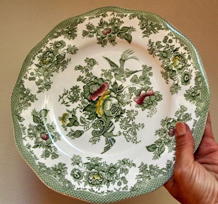 LOT of 6 Enoch Wedgwood Kent plates Tunstall Vintage Green Transferware flowers floral roses & exotic birds dinnerware dinner salad plates by MushkaVintage3 on Etsy