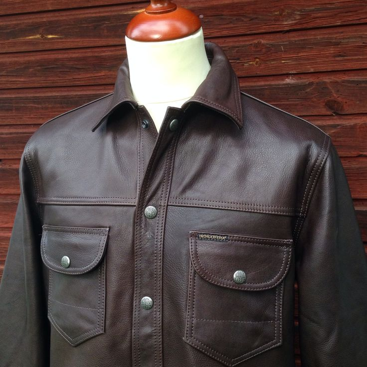 Indigofera Fargo Shirt, Waxed Leather. (calfskin, workwear, leather jacket)