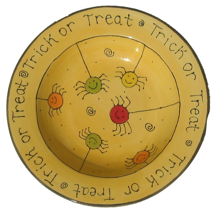 trick or treat pottery plate - Halloween Plates Ceramic