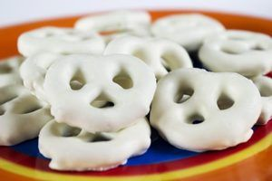 Close-up of yogurt covered pretzels