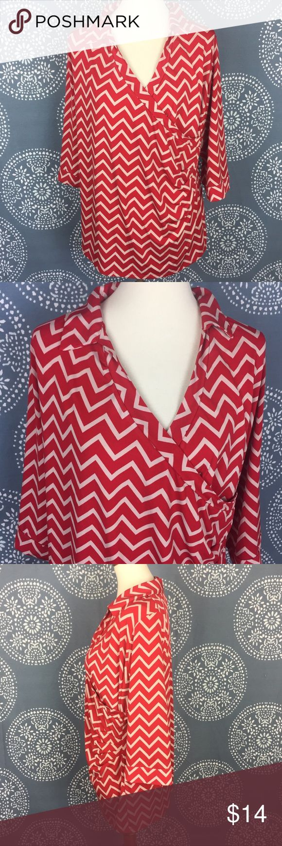 "Motherhood Maternity Red & Cream Chevron Top Cute maternity top with a wrap style and side cinching. It is a chevron pattern in red & cream. The sleeves are 3/4 length. Super cute and great condition.  22"" armpit to armpit 27"" long Motherhood Maternity Tops"