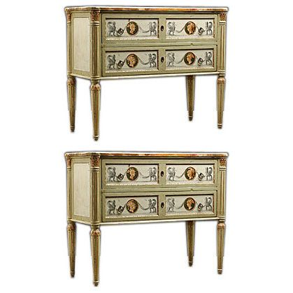 Pair Of Italian Antique Neo Classical Style Painted Chests