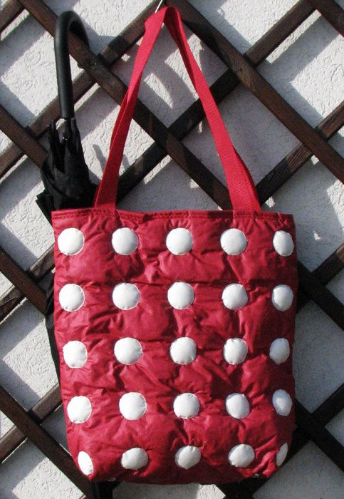 Red with white circles made from waterproof material by Vvesna,
