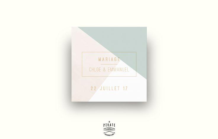 Faire-Part de Mariage Carré Aquarelle Graphique