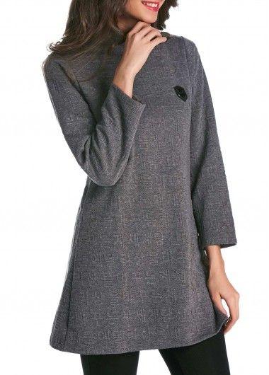 Deep Grey Long Sleeve High Collar Dress on sale only US$26.37 now, buy cheap Deep Grey Long Sleeve High Collar Dress at lulugal.com