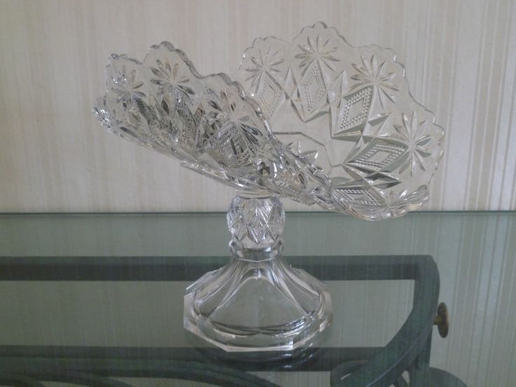 antique EAPG pressed glass bannana boat 1890's 1910's