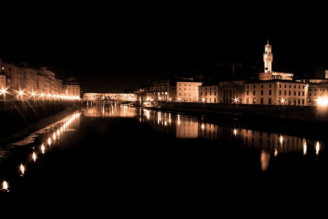 slow shutter/time lapse travel photography- Ponte Vecchio, Florence, Italy by night