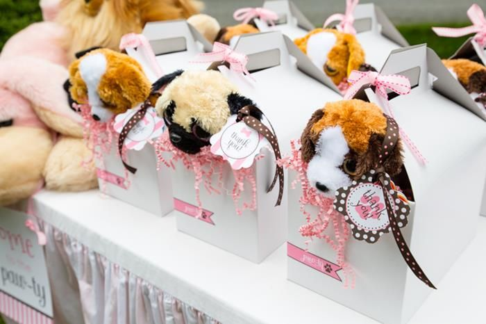 Pink Puppy Party Full of Darling Ideas Ideas via Kara's Party Ideas | Favour boxes