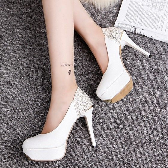 White Round Toe Stiletto Ankle High-Heeled Shoes