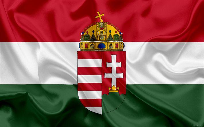 Download wallpapers Hungary national football team, emblem, logo, football federation, flag, Europe, flag of Hungary, football, World Cup