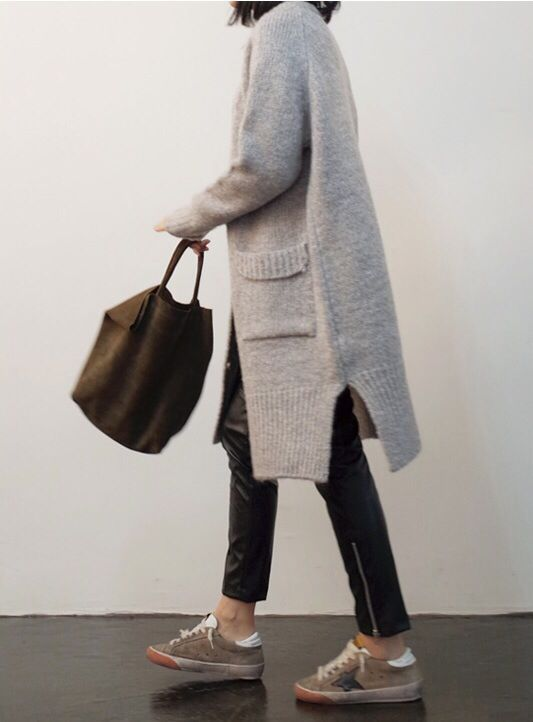 Easy, knit coat with patch pockets