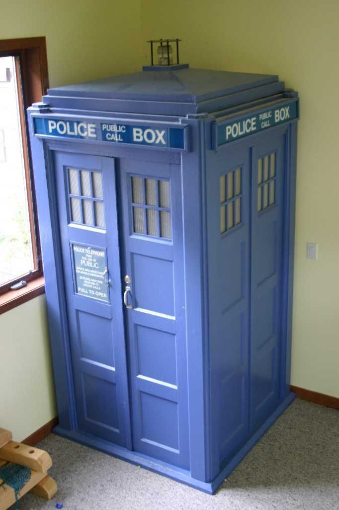 Tardis DIY--opens to next room, so It's bigger on the inside...Genius  Even cooler than a wardrobe that opens to 'narnia'!!