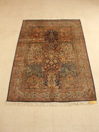 Exquisite, flowers, vases, birds and cypresses are woven in silk enhancing the beauty of this #vintage magic #carpet. Woven in the Qum style, with meticulous borders, this soft pile carpet reflects nuances of smudged blue, mocha, burnt sienna and terracotta whilst the centre panel is a deep midnight blue. ~~~~~~~~~~~~~~ Code C010 | Rs 100000 Dimensions: 52*72 Call +91 9600136668 | hello@envission.org Address & Directions: bit.ly/vintage-furniture-chennai