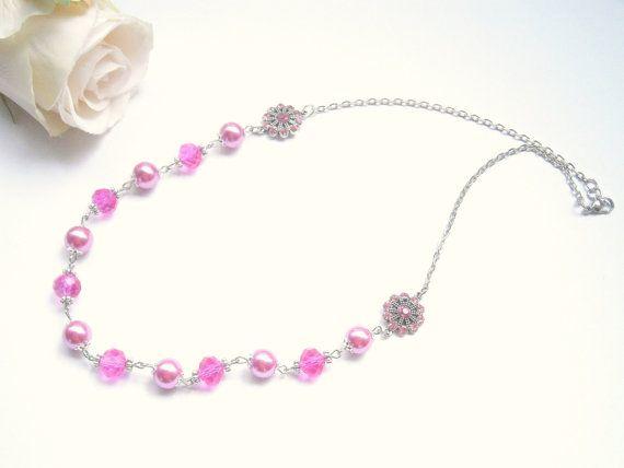 Fuchsia Pink Necklace  Glass Pearl Jewelry  by GlamorousSparkle, €20.00