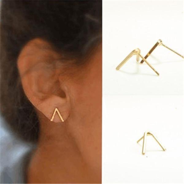 Trendy Unique Simple Earrings Letter V Women Ear Studs Fashion Elegant Jewelry