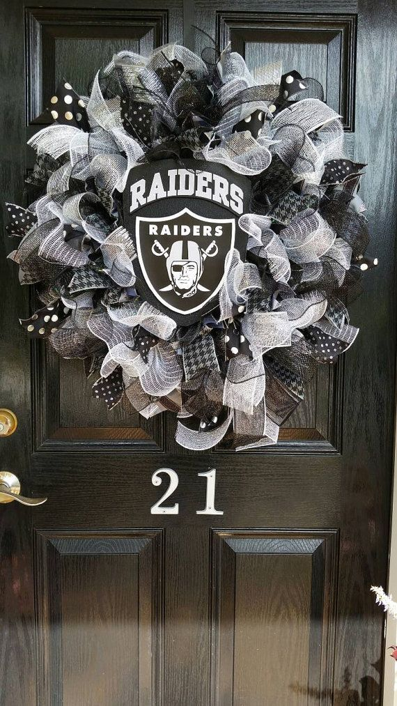 Large Mesh Ribbon Oakland Raiders Football by DesignTwentyNineSC