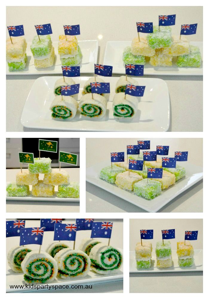 Great Australia Day Food for kids - read the blog to find out how to make these fairy bread pin wheels and green and gold lamingtons! #AustraliaDay