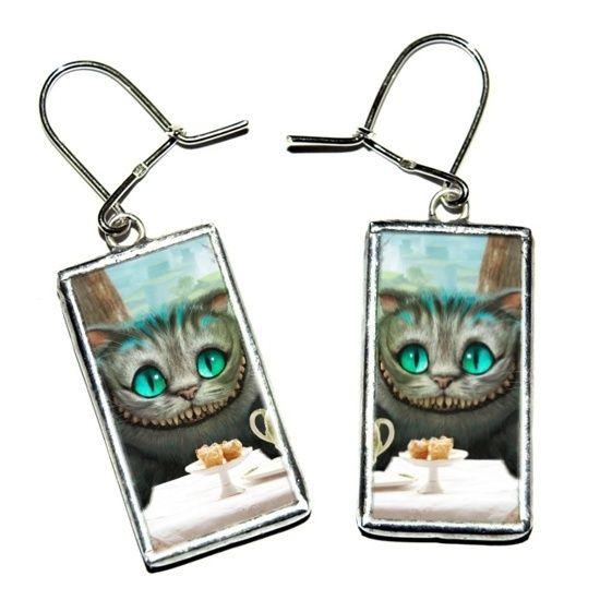 Kot z Cheshire - kolczyki tiffany szklane w Studio Czarnego Królika na DaWanda.com