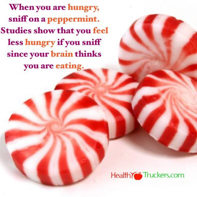 When you are hungry, sniff on a peppermint. Studies show that you feel less hungry if you sniff since your brain thinks you are eating.