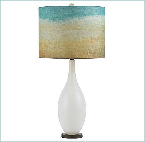 A Milk Glass Table Lamp inspired by Sand and Sea: http://beachblissliving.com/beach-lamps-and-pendant-lights/