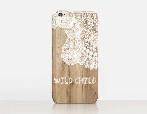 Wild kind Lace hout Print telefoon geval-6 iPhonegeval - iPhone 5 geval - iPhone 4 zaak - Samsung S4 zaak - iPhone 5C - Tough Case - mat