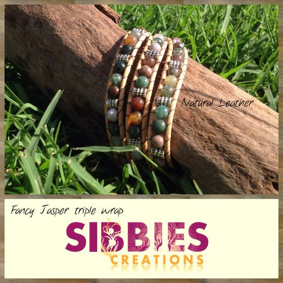 Fancy Jasper triple leather wrap by SibbiesCreations on Etsy