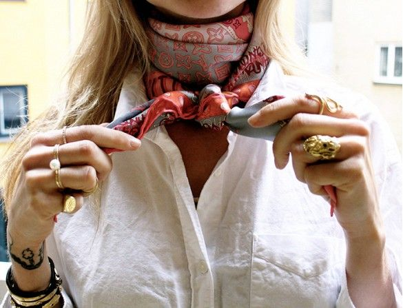 Replace Your Necklace With A Scarf: We've long sung the praises of the silk neckerchief. Add one in place of your go-to statement necklace.