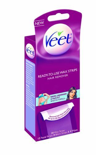 Veet Wax Kit, Body, Bikini and Face, 20 Count (Pack of 2) by Veet. $10.34. Ready to use wax strips. Can be used for bikini, underarm, and face kit. With vitamin E and almond oil for sensitive skin. Amazon.com                These Veet Ready-to-Use Wax Strips have different sized strips to remove unwanted hair on your underarms, bikini line, and face. Veet has specially formulated these wax strips to act like a liquid during applications, coating different lengt...