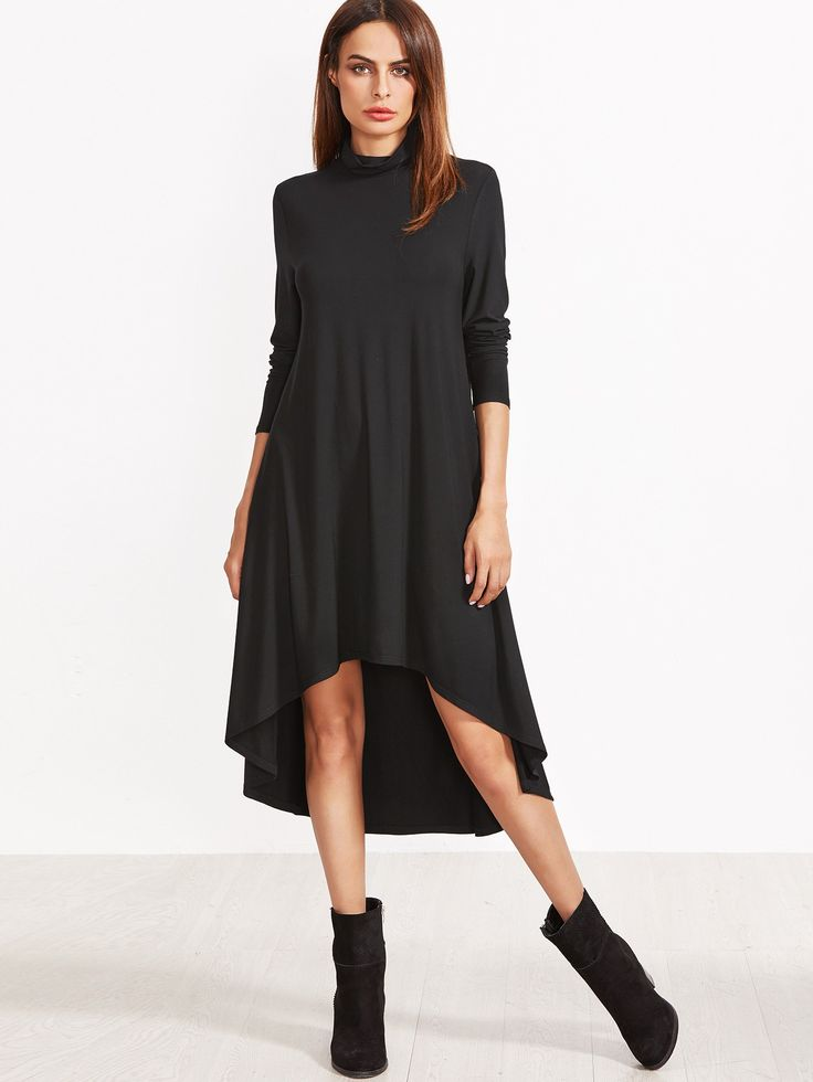 Black Cowl Neck High Low Swing Dress - Party dresses outlet