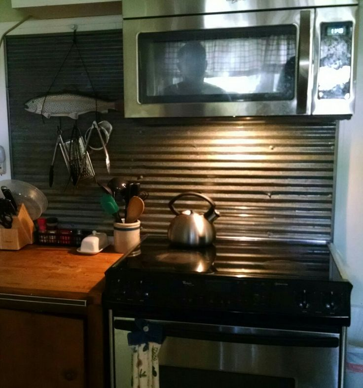 Corrugated steel back splash