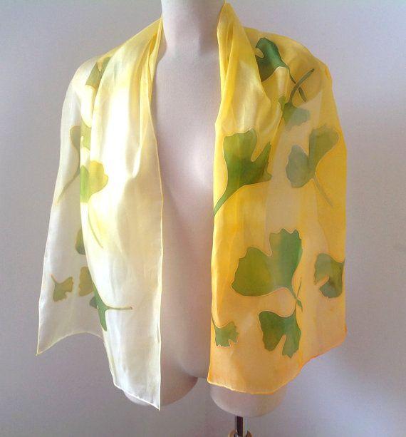 Golden ginkgo biloba silk scarf Hand painted silk by AndreaSilk