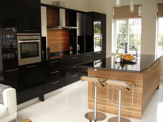 Image result for zebra wood cabinets with all black island ...