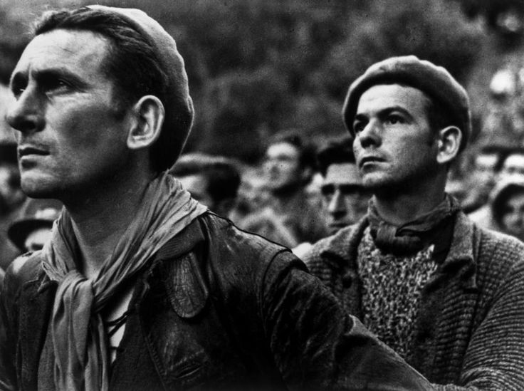 Montblanch, near Barcelona. Spain. Bidding farewell to the International Brigades, which the Republican government dismissed by the Republican government, as a consequence of Stalin's friendship with Germany. By Robert Capa, (October 25th, 1938)