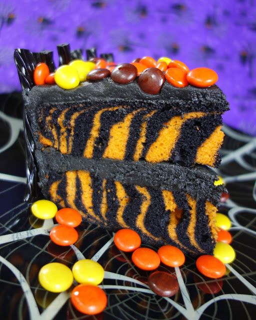 Spooktacular Halloween Candy Cake - Halloween Zebra cake made with two colors of cake mix