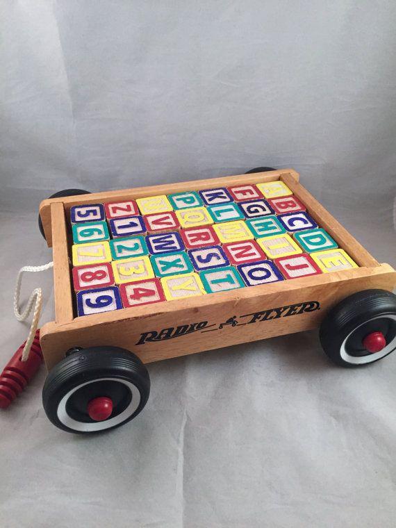 Radio Flyer Wood Pull Wagon with Alphabet Blocks