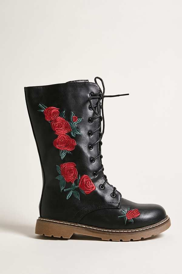 FOREVER 21 girls Girls Floral Combat Boots (Kids) Sponsored